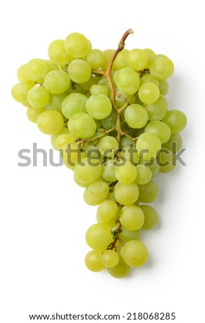 Green grapes isolated on white background. Above view. - stock photo