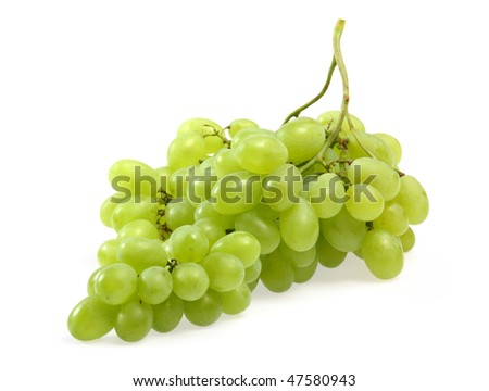 Green grapes on white background close up shoot - stock photo