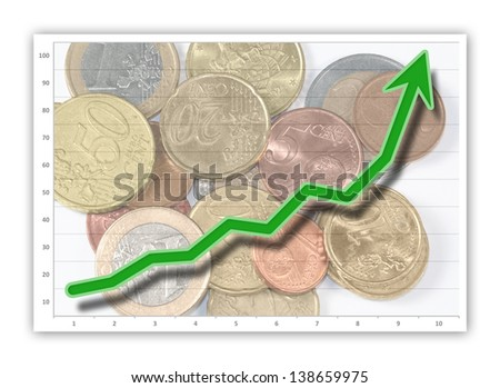 Green graph on business chart (upward) - stock photo