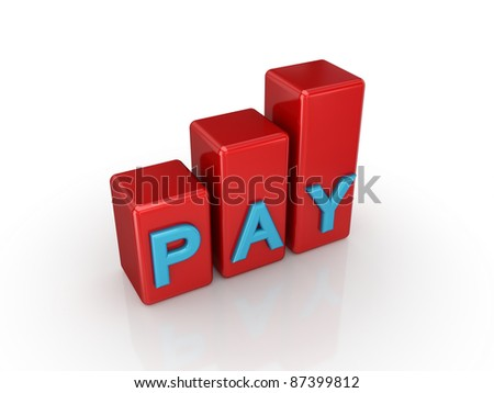 Green graph with a word PAY.Isolated on white background. 3d rendered. - stock photo