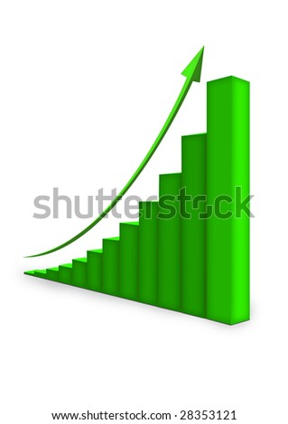 Green graph with arrow 3D isolated