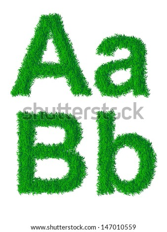 Green grass alphabet, big and small letters A, B. Raster version.