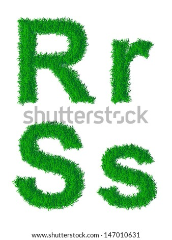 Green grass alphabet, big and small letters R, S. Raster version.