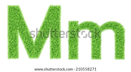 green grass alphabet isolated on white background, green moss alphabet, M