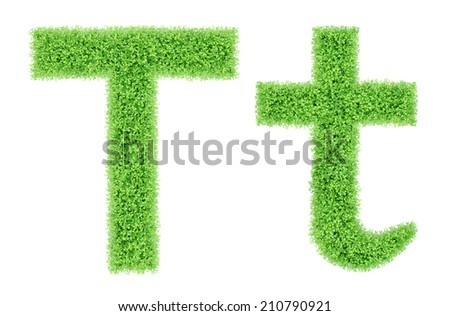 green grass alphabet isolated on white background, green moss alphabet, T