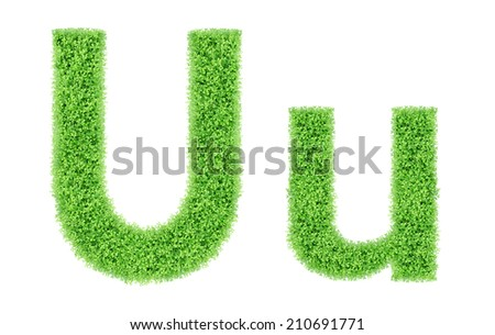 green grass alphabet isolated on white background, green moss alphabet, U