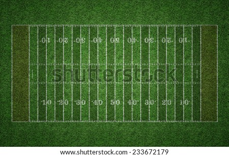 Green grass American football field with white lines marking the pitch. - stock photo