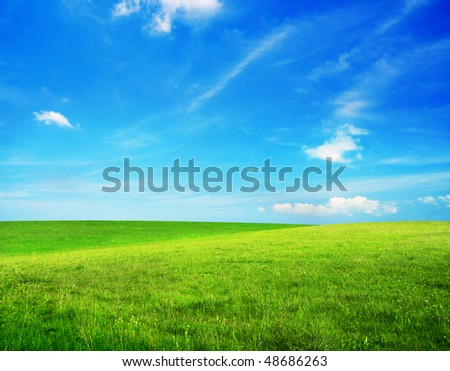 Green grass and blue cloudy sky - stock photo