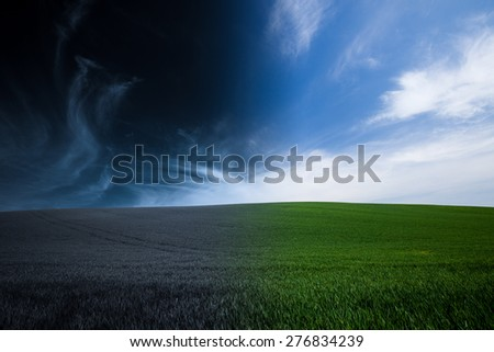 green grass and blue sky night and day background