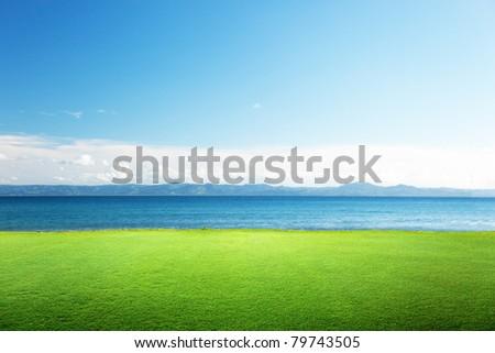 green grass and caribbean sea - stock photo