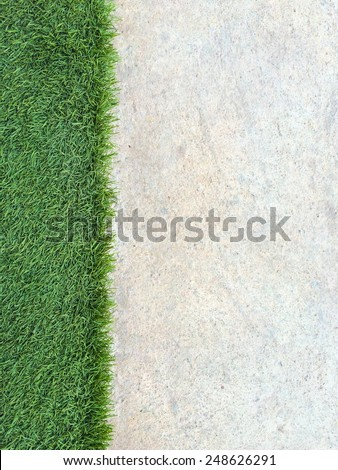 Green Grass and concrete background in portrait view