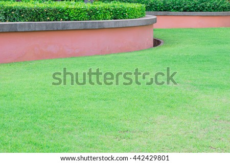 Green grass and old concrete pink wall background. Geometric stripes pattern exterior natural green grass and curve concrete sandstone wall with tree fence decorative background in garden. - stock photo