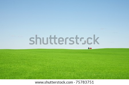 Green grass and red roof house - stock photo