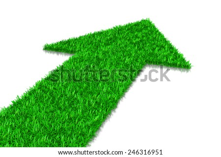 Green Grass Arrow, Direction Concept 3D Illustration on White Background - stock photo