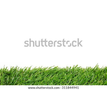 Green grass background with white area for copy space. Artificial turf tile background. - stock photo