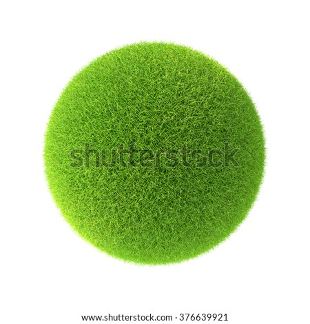 Green grass ball. Isolated on white background in the design of information related to the world and nature