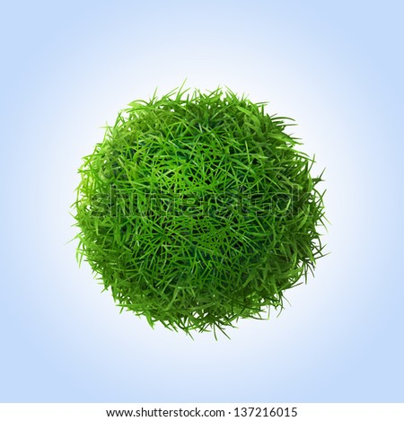 Green grass ball on blue background - stock photo