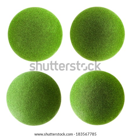 Green grass balls set