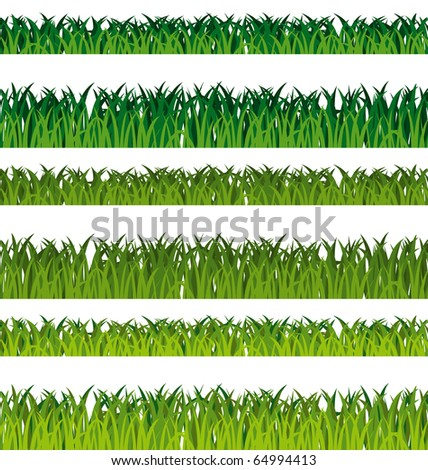 Green grass banners isolated on white background. Seamless patterns set.
