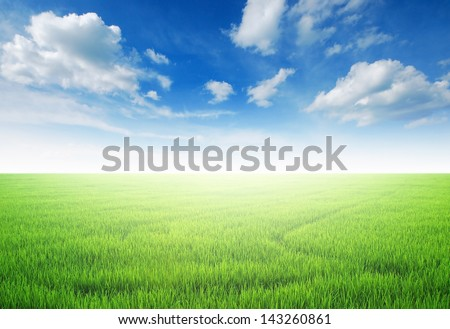 green grass blue sky cloud cloudy landscape background - stock photo