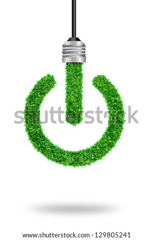 green grass bulb as symbol of sustainable energy and nature protection, isolated on white background With Save Paths for design work - stock photo