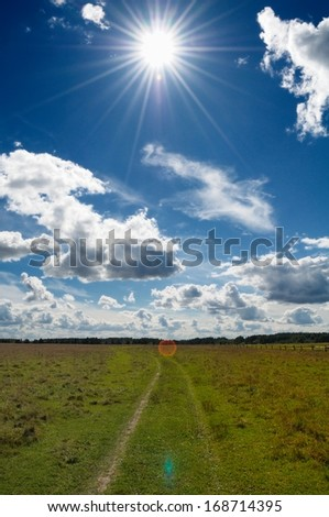 Green grass country field under bright midday sun in blue sky with white clouds - stock photo