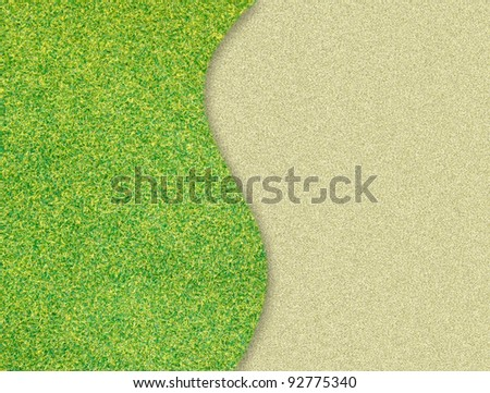 green grass curve on sand  background - stock photo