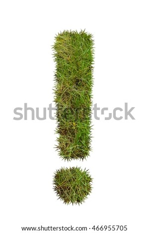 green grass Exclamation mark on white background