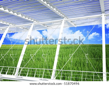 green grass field and blue cloudy sky modern eco building 3d - stock photo