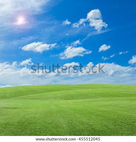 green grass field and  blue sky scenery background