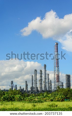 green grass field and Oil refinery factory plant or petrochamical and power - stock photo