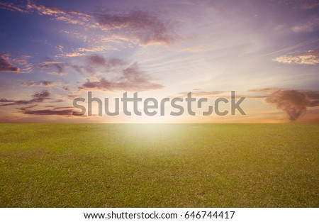grass field sunrise. Brilliant Sunrise Green Grass Field On Sunrise Sky Background For Grass Field Sunrise R