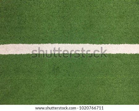 Green grass field with white stripe
