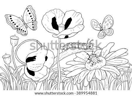 Green grass, flowers and insects. Cute butterflies, beetle and caterpillar, poppies and daisies. Summer day. Illustration for children. Greeting card. Coloring page. Cartoon characters. - stock photo
