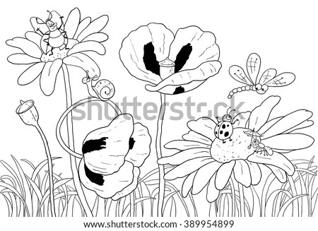 Green grass, flowers and insects. Cute dragonfly, beetles, ant, snail and ladybird. Illustration for children. Greeting card. Coloring book. Coloring page. Cartoon characters. - stock photo