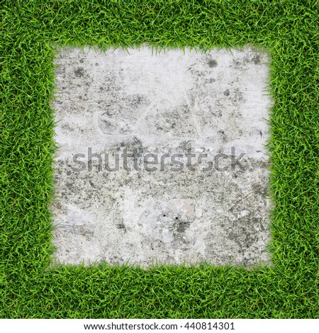 Green grass frame and concrete texture, Grunge vintage background and texture with clipping path. - stock photo