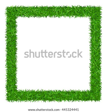 Green grass frame with copy-space. Square border template isolated on white background. Abstract plant texture. Symbol of environment, nature, eco and fresh, ecology Organic design Illustration - stock photo