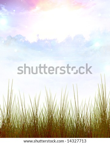 Green grass frame with shaded areas and cloud background