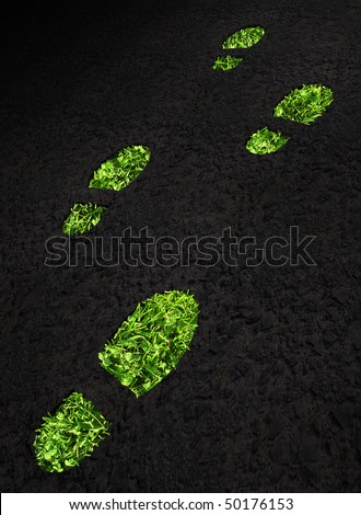 Green grass growing footprints on black asphalt