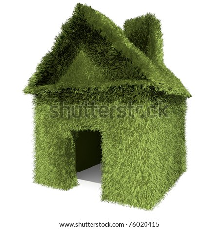 Green grass house isolated on white background.