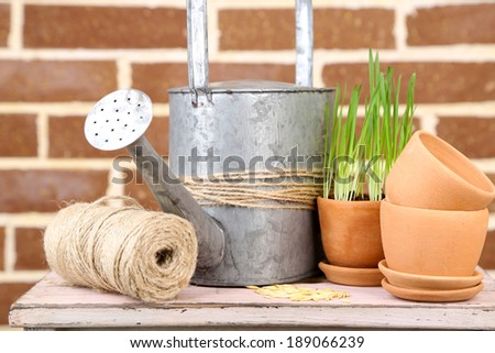 Green grass in flowerpots and oat seeds on brick wall background