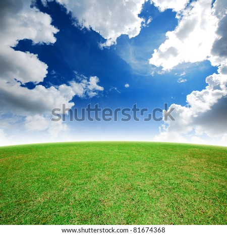 Green grass landscape blue sky for Backgrounds and design - stock photo
