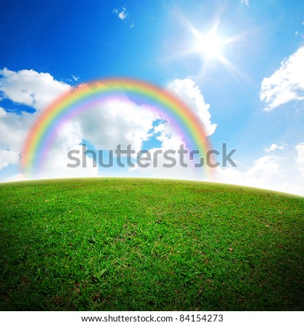 grass and sky backgrounds. Green Grass Landscape Blue Sky For Backgrounds And Design Rainbow