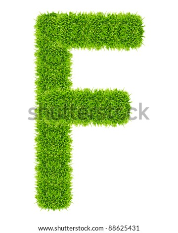 green grass letter F Isolated - stock photo