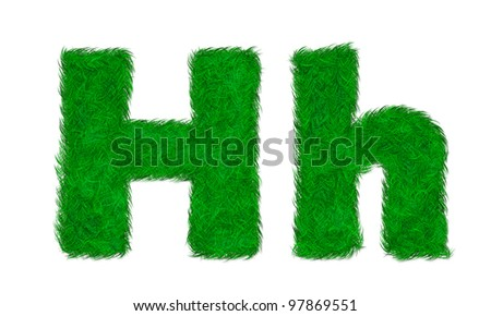 Green grass letter H h isolated on white background