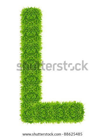 green grass letter L Isolated - stock photo