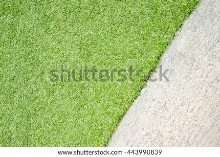 Green grass natural background and concrete floor.