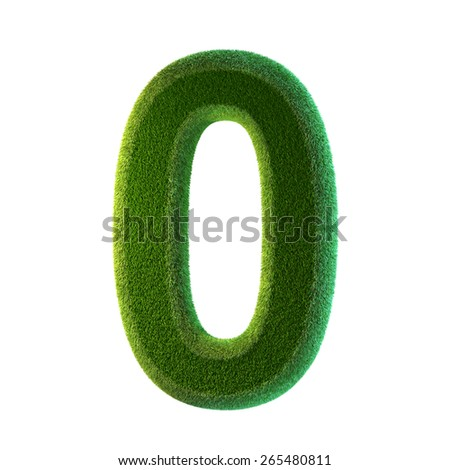 Green grass number zero. Isolated on white background. 0