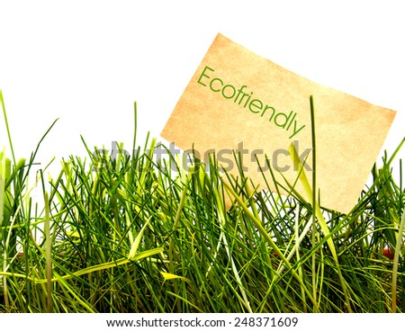 Green grass on white background with tag from craft paper. Eco-friendly - stock photo