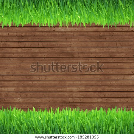 green grass over wood background. realistic 3d render